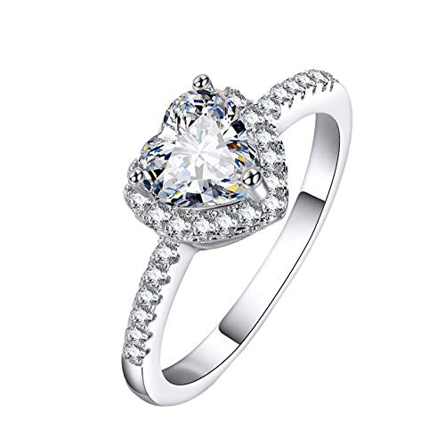 Clearance Rings,Women Fashion Luxury Love Heart Diamond Rings Engagement Wedding Rings Jewelry Gift by (Silver, 8)