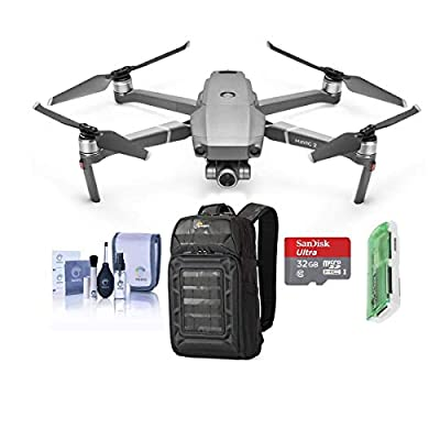 DJI Mavic 2 Zoom Drone Quadcopter with 24-48mm Optical Zoom Camera Video UAV 12MP 1/2.3-inch CMOS Sensor Bundle with Backpack + 64GB microSD Card + Reader + Cleaning Kit