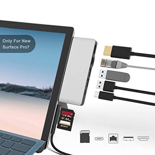 Surface Pro 7 Docking Station, Bawanfa Surface Pro 7 4K HDMI Adapter mit 100M Ethernet LAN, USB C Audio & Data Transfer Port, 2 USB 3.0, SD Kartenleser Converter Combo Adaptor für Surface Pro 7