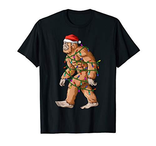 Bigfoot Christmas Lights Sasquatch Santa Hat T-Shirt
