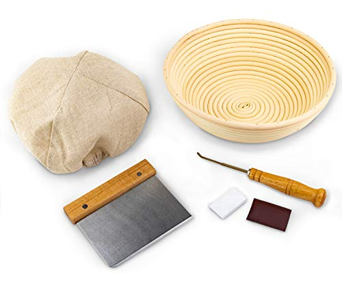 Proofing Basket Set, Bread Proofing Basket 10' Round for Sourdough - Great Gift for Bakers, Includes Washable Cloth Liner, Metal Dough Scraper, Bread Lame with Extra Blades