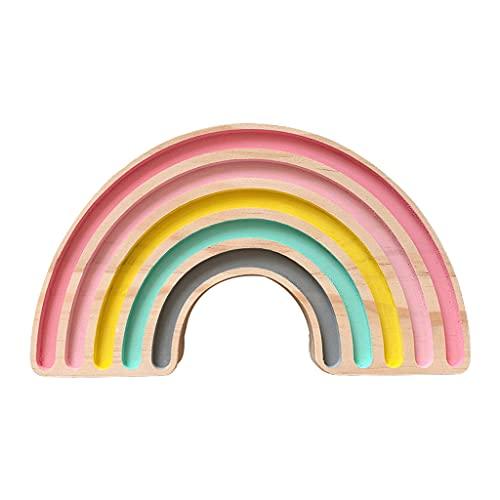 Xzbnwuviei Bloques de arco iris de madera Montessori Juguete educativo estilo nórdico hecho a mano bebé niños decoración de la habitación