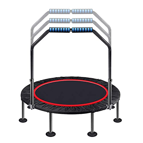 HFFSGS 40'Trampolín para niños Adultos Interior Pequeño trampolín Rebounder Fitness Cebounder con Mango de Espuma Ajustable, Trampolín de Ejercicios para niños Adultos Interior/de jardín Entrenamie