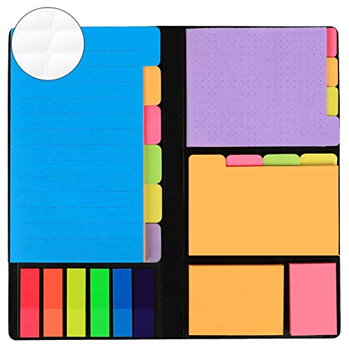 JARLINK 578-in-1 Divider Sticky Notes Set, Super Sticky Page Markers Prioritize with Color Coding, 60 Ruled, 40 Dotted, 40 Blank, 60 Orange and Pink, 150 Index Tabs and 168 Labels
