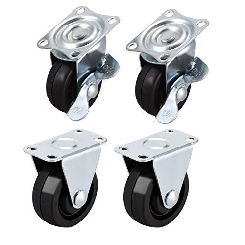 DyniLao - Ruedas giratorias de 1,5 pulgadas con placa superior de goma montada, rueda giratoria fija, 44 lb de capacidad, 4 piezas (2 piezas giratorias con freno, 2 piezas fijas)