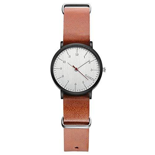 GAIETY Reloj de pulsera simple para hombre, esfera redonda informal, bisel negro, cara blanca, correa de PU, reloj de pulsera de cuarzo