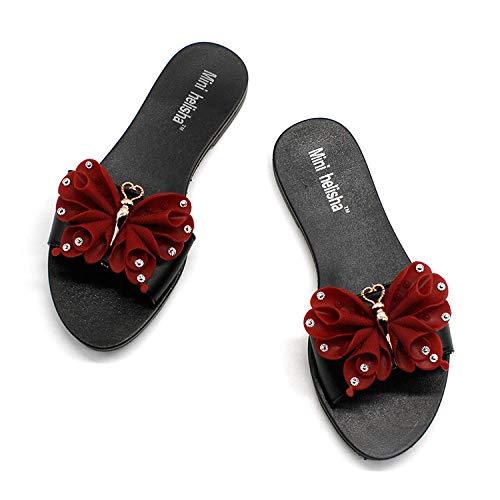 Anlemi Zapatillas de baño Planas de Verano,Sandalias Planas Casuales de Moda, con Zapatos de Playa de Arco-Vino Rojo_39,Chanclas de Moda clásica