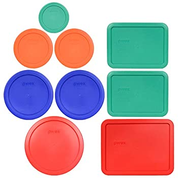 Pyrex  1  7402-PC 6/7 Cup Red  2  7201-PC 4 Cup Cadet Blue  2  7200-PC 2 Cup Orange  1  7202-PC 1 Cup Green  2  7210-PC 3 Cup Light Green  1  7211-PC 6 Cup Red Food Storage Lids