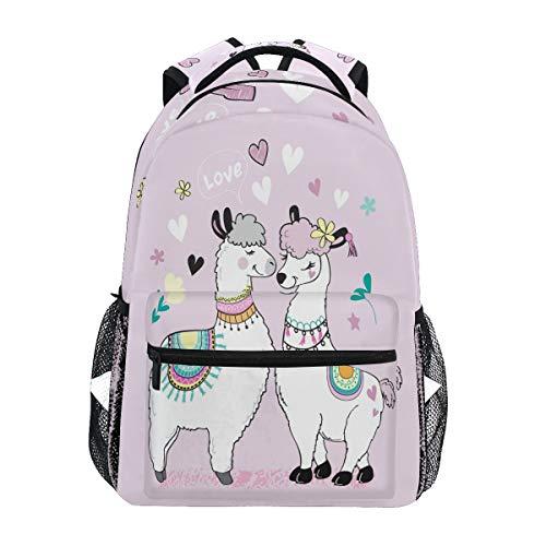 Linomo Niedlicher Lama Lama Alpaka Rucksack Tagesrucksäcke Büchertasche Camping Wandern Reisen Schule Schultertasche für Kinder Jungen Mädchen Männer Frauen