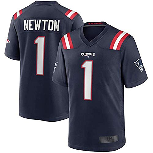 DADD Rugby-Trikot New England Patriots 1# Newton American Football Trikot, für Unisex Sport Kurzarm Sweatshirt Fitness Atmungsaktivität Gr. XL, dunkelblau