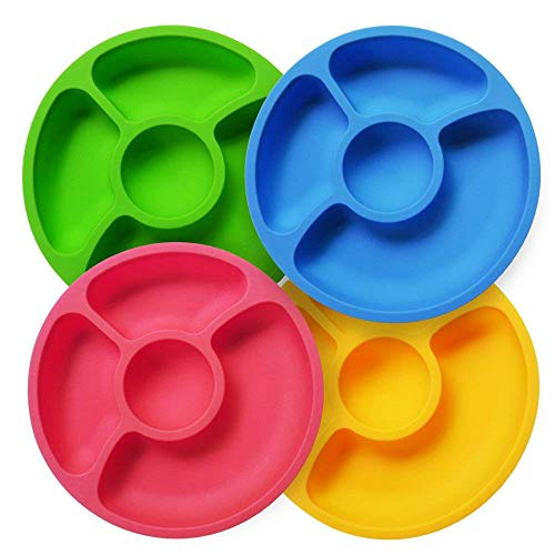 "Baby Plates Silicone Divided Dishes - 4 Pack X 8"" Toddler Plates for Kids Children and Elderly SILIVO Portable Snack Plate"