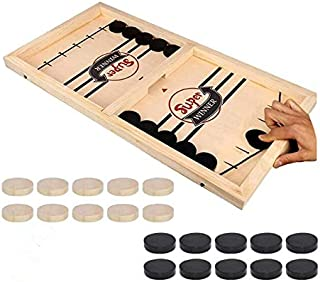INGATO Fast Sling Puck Game, Wooden Winner Board Games Chess Games Table Desktop Battle Ice Hockey Game for Adults and Kid...