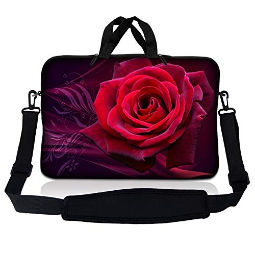 LSS 17 inch Laptop Sleeve Bag Carrying Case Pouch w/Handle & Adjustable Shoulder Strap for 17.4' 17.3' 17' 16' Apple Macbook, GW, Acer, Asus, Dell, Hp, Sony, Toshiba, Pink Rose Floral Flower