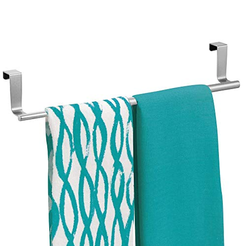 mDesign Adjustable, Expandable Kitchen Over Cabinet Towel Bar Rack - Hang on Inside or Outside of Doors, Storage for Hand, Dish, Tea Towels - 9.25' to 17' Wide - Chrome
