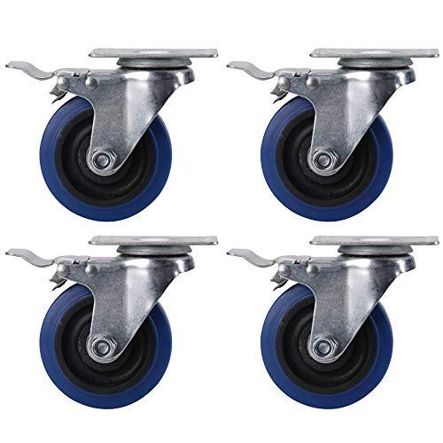 WYBFBYQ Set van 4 wielen met draaibare plaat W/remwielen op blauw rubber wiel