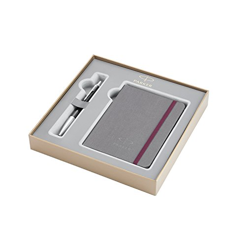 PARKER Urban estuche con bolígrafo y libreta de la colección British, Color Ébano metalizado Premium con adornos cromados