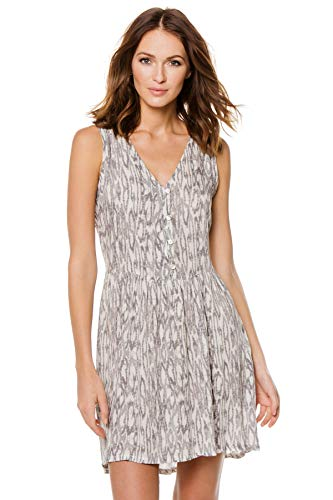 J. VALDI Women's Laguna Print Button Down Mini Dress Swim Cover Up Grey XL