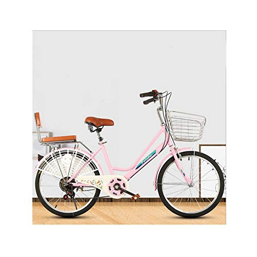 US Stocks - Women's Classic Cruiser Bike, Womens Beach Cruiser Bike 26 Inch Classic Bicycle,Retro Bicycle,Beach Cruiser Bicycle,Road Bike,Travel Bicycle,Comfortable Commuter Bicycle (Pink)