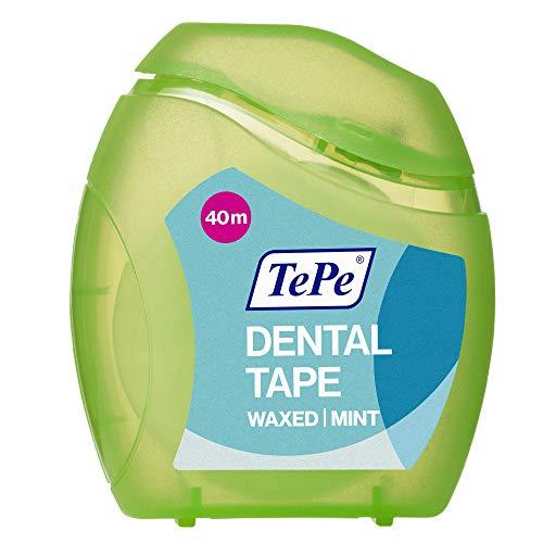 TePe Cinta Dental 40 metros/Hilo dental ancho y encerado para la eliminación eficaz de la placa/Sabor a menta