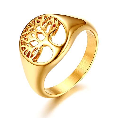 JewelryWe Schmuck Damen-Ring, Edelstahl Lebensbaum Baum des Lebens Hollow Ring Zehenring, Gold, Größe 54, kostenlose Gravur