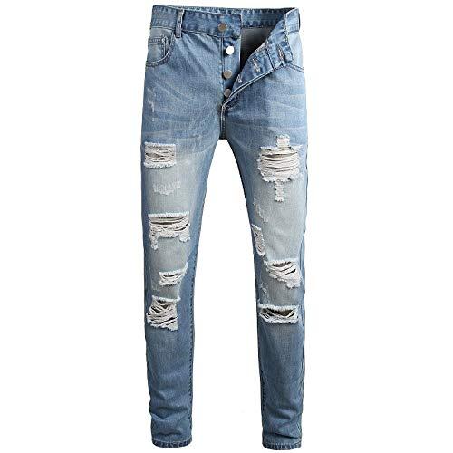Jeans para Hombre Nostálgico Botón de Agujero de Personalidad Recto Delgado Color sólido Pantalones Casuales Lavados de Gran tamaño
