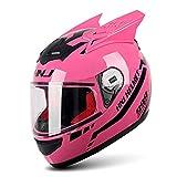 LVYE1 MRMF Casco De Moto De Cross-Country, Casco De Motocross Rosa Adulto Casco Moto Cross con Visera Casco Integral Moto Mujer Y Hombre,F,XXL
