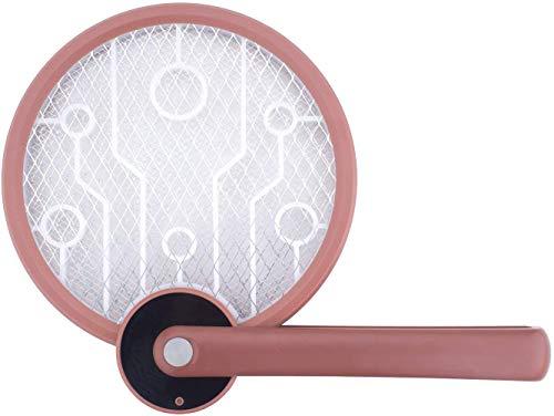 Mata Moscas eléctrico Fly Catcher Mosquito Zapper/Insect Killer Batería Recargable de 1200mA USB, Linterna, Malla de Seguridad de 3 Capas, para Uso doméstico, Interior y Exterior HO-IK-02 (Rojo)