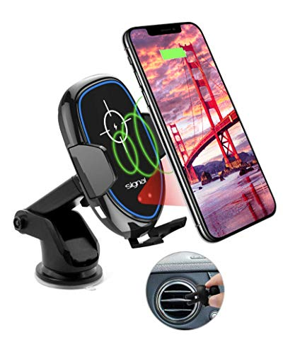 Smart Wireless Car Charger Phone Mount Fast 10W Charging Qi Enabled Motorized Phone Holder Compatible with iPhone Xs Max Xs Xr X 8 8 Plus Samsung Galaxy S9 S9 Plus S8 Note 8 (Black)