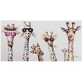 Graffiti Pinturas sobre lienzo Colorido Animal Jirafa Una familia con gafas Cuadros Impresiones Arte...