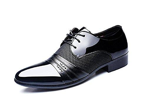 Zapatos Oxford Hombre, Cuero Derby Vestir Cordones Calzado Boda Brogue Verano Negocios Moda Uniforme Negro Marron Rojo 38-48 BK43