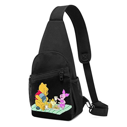 Trista Bauer Sling Bag - Winnie The Pooh Camping Crossbody Sling Mochila Viaje Senderismo Bolsa de Pecho Mochila para Mujeres Hombres