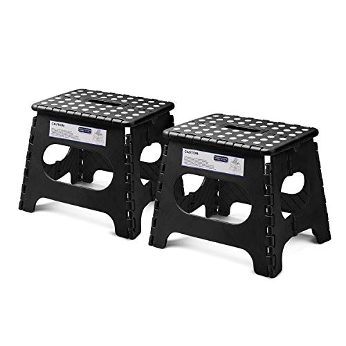 Acko Folding Step Stool Lightweight Plastic Step Stool - 11 Height - 2 Pack - Foldable Step Stool for Kids and Adults,Non Slip Folding Stools for Kitchen Bathroom Bedroom (Black, 2 Pack)