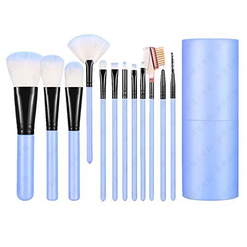 Set de pinceaux de maquillage avec support 12 pièces Brush de Maquillage Premium Synthetic Foundation Brush Mix Face Powder Blush Rouge Concealer Eye Shadow Make-up Brush Kit Blue