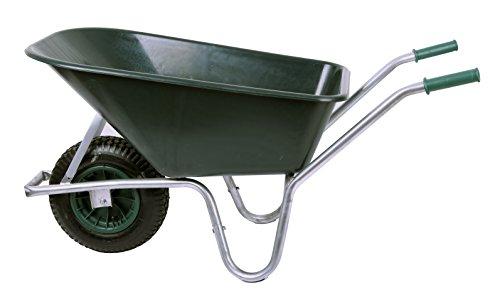 Schubkarre 100 Liter bis 250 kg Belastbarkeit, PVC, grün (Gartenkarre Bauschubkarre Baukarre Gartenschubkarre für Baustelle, Stall, Garten, Laub, Bauschutt)