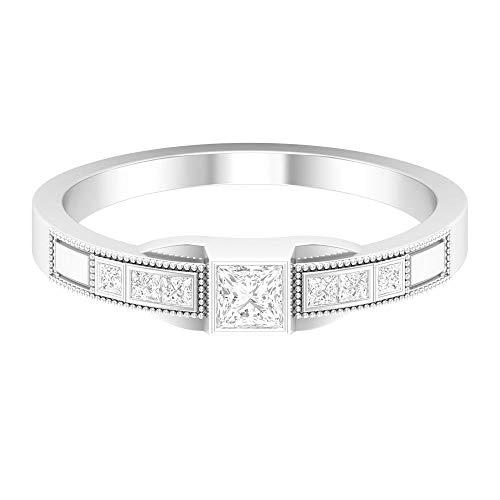 Solitaire HI-SI 1/3 quilates anillo de diamante, anillo de diamante de corte princesa, anillo grabado con cuentas, anillo de boda, anillo de piedra lateral, 14K White Gold, Diamond, Size:US 61