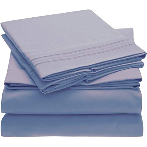Mellanni Bed Sheet Set - Brushed Microfiber 1800 Bedding - Wrinkle, Fade, Stain Resistant - 4 Piece (King, Blue Hydrangea)