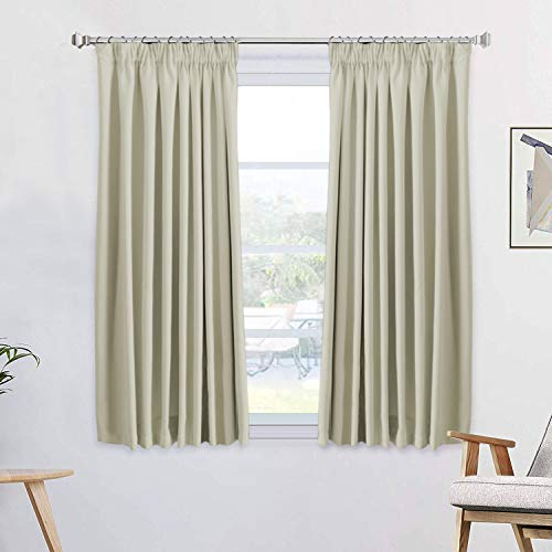 H.Versailtex Blackout Solid Beige Decorative Window Curtains Thermal Insulated Noise Reducing Pencil Pleat Curtain Panels for Living Room/Bedroom, 46' Width x 54' Drop, Set of 2 pieces