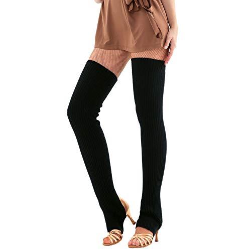 Overknee Stulpen für Damen URSING Gestrickt Beinstulpen Kniestrümpfe Klassische Winter Stiefel Socken Beinlinge Strümpfe Knöchelwärmer Beinwärmer Oberschenkel Yoga Socken Boot Cover Leggings (Schwarz)