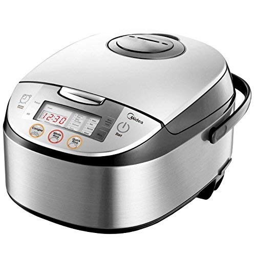 Midea Micom Rice Cooker, Digital Multi-Functional Ricer Cooker/Steamer, Brown Rice, Slow Cooker (4L/8 Cup, Silver)…