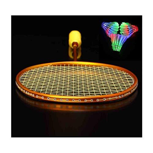 GUOHAPPY Federball Set Erwachsene, LED Badminton Schläger Federballschläger Set Für Training,Profi Badmintonschläger Leichtgewicht Badminton(Verschiedene Optionen),Gold,4U