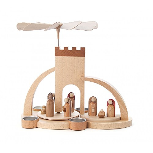 Weihnachtspyramide 1-stöckige Moderne Weihnachtspyramide Christi Geburt für Teelichter - 33cm - Original Erzgebirge - Dregeno Seiffen