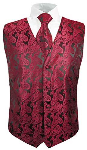 Festliche Jungen Anzug Weste mit Krawatte 2tlg schwarz rot Paisley für Kinderanzug 104-110 (4 Jahre)