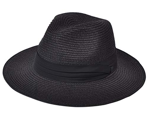 Lanzom Women Wide Brim Straw Panama Roll up Hat Fedora Beach Sun Hat UPF50+ (Black)