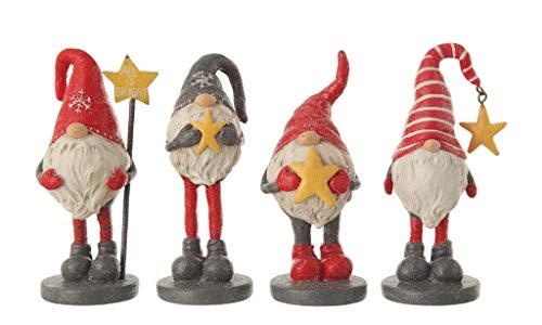 Creative Co-op Gartenzwerge Starry Night All is Bright Holiday Figuren – Set von 4