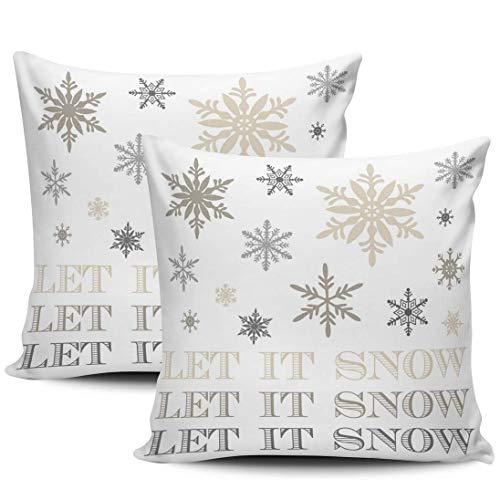 Verpakking met 1 bankkussensloop kerstsneeuwvlokken Laat het besneeuwde ritssluiting kussensloop vierkante maat kussenslopen