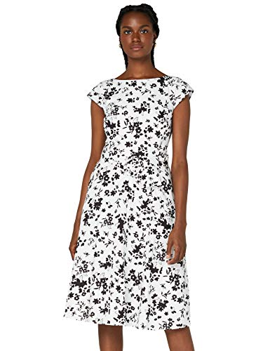 Amazon-Marke: TRUTH & FABLE Damen Midi-Baumwollkleid in A-Linie, Mehrfarbig (White/Blk Floral), 46, Label:3XL