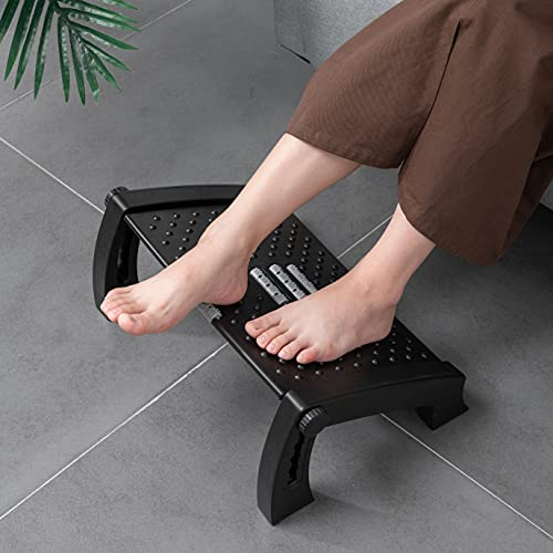 Fanwer Adjustable Foot Rest for Under Desk at Work, Office Chair Foot Rest with Massage Surface, 6 Height Adjustable, Ergonomic Tilted Foot Stool for Desk at Work for Home, Office