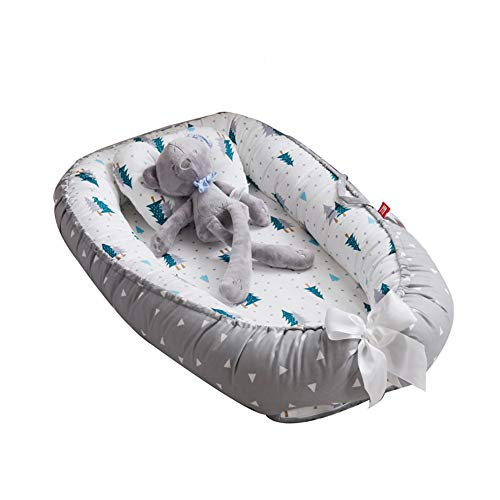 PUDDINGT Baby Nest Newborn Baby Lounger Soft Breathable Cotton for Newborn & Babies Sleeping Pod Baby Bassinet for Bed, Napping and Travel, Breathable & Hypoallergenic Cotton