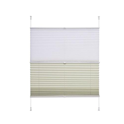 Liedeco® Plissee (Day and Night) verspannt mit Klemmträger / 90 x 130 cm weiß-beige (Breite x Höhe) / lichtdurchlässig und lichtundurchlässig blickdicht stufenlos verstellbar in einem Doppelplissee / verdunkelnde Seite Thermo / leichte Innen-Montage ohne Bohren / 123 montiert / Doppel-Plissee farbig zum Klemmen fürs Fenster in vielen Farben und Größen / Klemmfix-Plissee als Sichtschutz Blendschutz Sonnenschutz und Fensterdekoration innen / Rollos Falt-Plissee Jalousien Zubehör von Liedeco