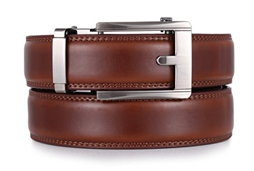 Mio Marino Ratchet Belts for Men - Genuine Leather Dress Belt - Automatic Buckle (Pristinely Modern - Burnt Umber, Adjustable from 28' to 44' Waist)